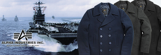 NAVY PEA COAT ALPHA INDUSTRIES