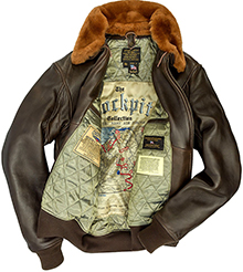 Cockpit Mens G-1 Antique Lambskin Leather Flight Jacket (коричнева) 33a7726de73eb
