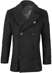 Пальто бушлат Top Gun Men's Wool Military Issue Double Breasted Coat (чорне)
