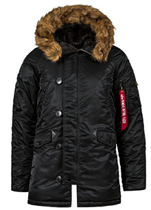 Зимова куртка аляска Slim Fit N-3B Parka Alpha Industries (чорна з  коричневим хутром 7bbcc8fbf5ff0