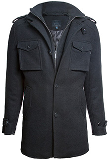 Пальто бушлат Top Gun Men's Slim Fit Wool Pea Coat (чорне)