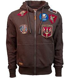 Реглан Top Gun Zip-Up Military Patched Hoodie (коричневий)
